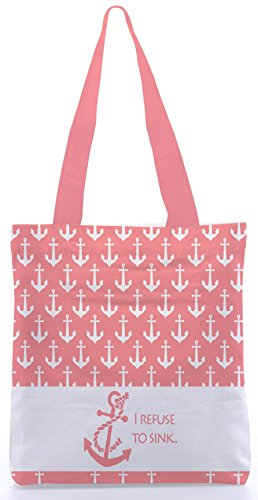 Snoogg I Refuse To Sink Pink Inches Shopping Utility Tote Bag