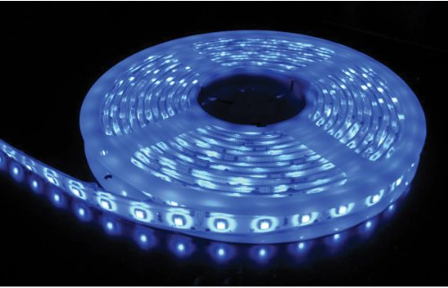 Flexible Waterproof Lighting Strip LED Ribbon 5 Meter or 16.4 Ft 12v for All your Decorations (Blue) with Power Adapter included
