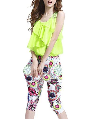 Ladies Tiered Ruffles Top Novelty Prints Caprai Jumpsuit Lime S