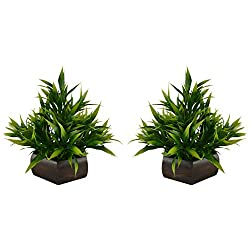 Thefancymart Artificial Bamboo leaves plant (size 7.5 inchs/ 20 cms) with wood Hexagun pot ( set of 2 pots)-S20235-889