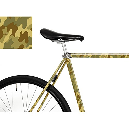 """MOOXI-BIKE Fahrrad-Folie """"Camouflage Olive"""" – Mit dieser Tarnung fällt dein Rad mächtig auf! (ausreichend für Teilbereiche)"""
