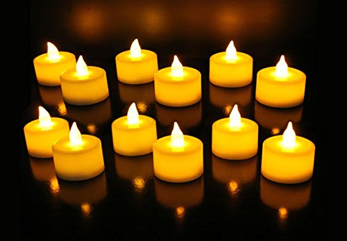 GOYAL® Flickering Flameless LED Yellow Tealight Birthday/ Festival / Anniversary / All purpose (Set of 12)