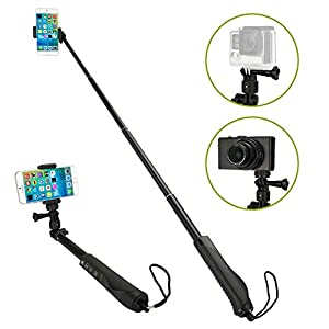 Selfie Stick - iKross Bluetooth Monopod Stick with Adapter for GoPro Camera and Smartphone - Black