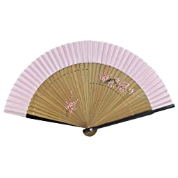 Hand Painted Plum Blossom - Pink - Bamboo Silk Folding Fan