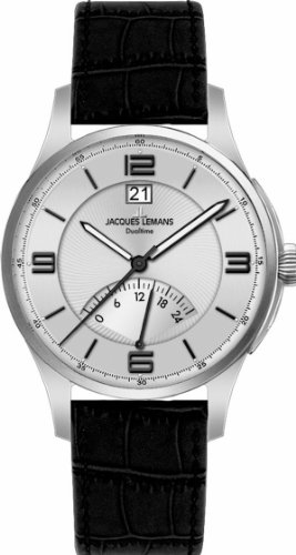 Jacques Lemans London 1-1640B Men's Black Leather Strap Watch