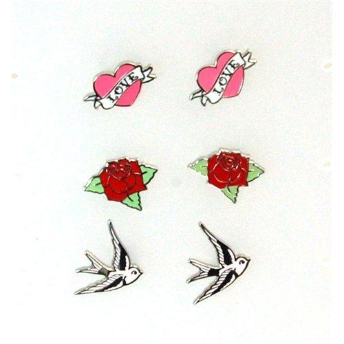Pink Cookie Set of 3 Earrings  a Pink Skull Purse