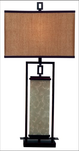 Kenroy Home Plateau Table Lamp with 15 inch Gold Fabric shade