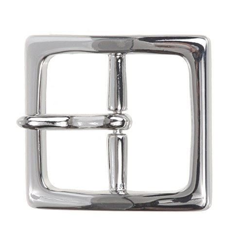 """1 1/2"""" (40 mm) Nickel Free Center Bar Single Prong Square Belt Buckle Color: Silver"""