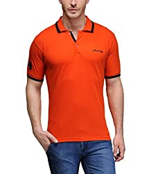 AWG Men's Premium Cotton Polo T-shirt with Embroidery - Orange - FBAAWGTS6l