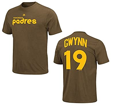 Tony Gwynn San Diego Padres Brown Cooperstown Player Jersey Name and Number T-shirt