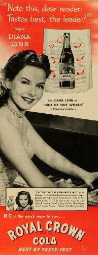 1945 Ad Royal Crown Cola R C Soda Pop Diana Lynn Actress Piano Music Paramount - Original Print Ad