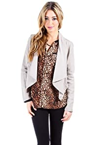 Casual Linen Blazer Wrap in Dark Khaki