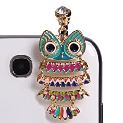 Wisedeal Colorful 3.5mm Night Owl Pattern Cellphone Charms Anti-Dust Dustproof Earphone Audio Headphone Jack Plug Stopper for iPhone 4 4S Samsung Galaxy S2 S3 Note I9220 HTC Sony Nokia Motorola LG Lenovo