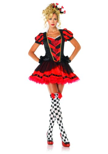 2 Piece Gold Trimmed Shimmer Heart Dark Heart Queen Fancy Dress Costume in Black/Red, Sizes Small (UK 8) – Large (UK 12)