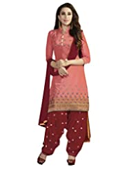 Shoppingover Bollywood Pure Cotton Patiala Salwar Kameez In Peach Color