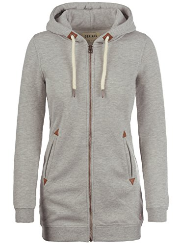 DESIRES Liki Straight-Zip - Felpa Con Zip da Donna, taglia:M;colore:Light Grey Melange (8242)