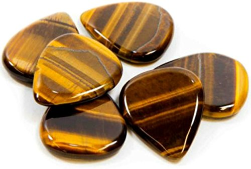 "myLife Hard Luxury ""Round Tip"" Guitar Pick Made of Genuine Gold Tigers Eye Crystal {Hues of Brown and Yellow Colors} [Single Pick]"