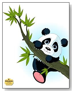 Panda Hanging On A Tree Notebook - Adorable cartoon panda hanging onto a tree makes a cute cover of this college ruled notebook.