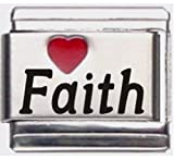 Faith Red Heart Laser Name Italian Charm Link