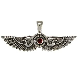 Sterling Silver Egyptian Winged Sun Disk of Thebes with Natural Garnet Pendant