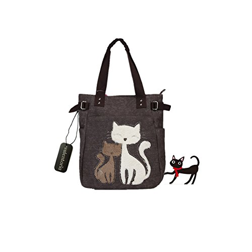 Cyber Monday Clearance Sale 2016 Valentoria® Cute Cat Design Multifunction Women's Canvas Zipper Closure Handbag Shoulder Lunch Tote Bag with Large Capacity Best Gifts for Teen Girls(Brown)
