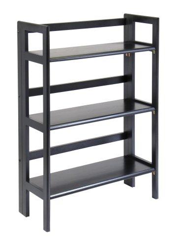 Winsome Wood Stackable/Folding 3-Tier Shelf, Black