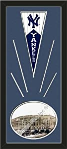 New York Yankees Wool Felt Mini Pennant & Yankee Stadium Outside Photo - Framed... by Art and More, Davenport, IA
