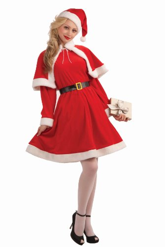 Women's Sweet Miss Santa Suit, Red/White, One Size Costume