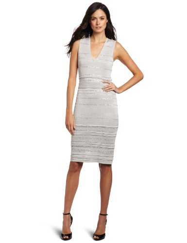 Anne Klein Collection Women's V-Neck Dress, Limestone, Medium