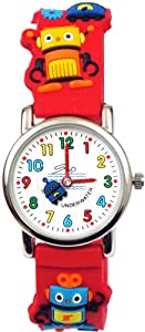 Gone Bananas - Robots Gone Wild Analog Kids' Waterproof Watch with Animated Robot Second Hand and Red Band - 3 ATM Water Resistant - Free Shipping