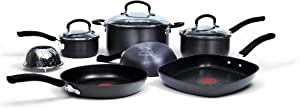 Jamie Oliver by T-fal C942SA Nonstick Hard Anodized Thermo-Spot Heat Indicator Cookware Set,  10-Piece, Black
