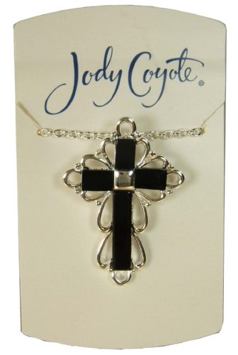 Jody Coyote Silver Onyx Cross Pendant Necklace 1331690