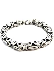 The Jewelbox 316L Stainless Steel 3D Byzantine Silver Plated S Bracelet For Men