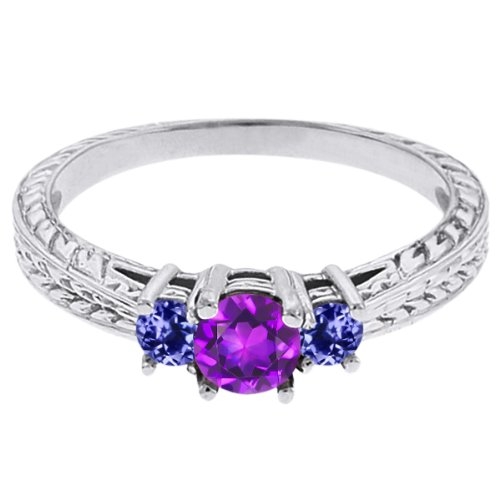 0.60 Ct Round Purple Amethyst Blue Tanzanite 18K White Gold 3-Stone Ring