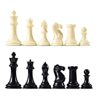 "Premier Tournament Chess Pieces with 4 1/8"" King - Ivory and Black"