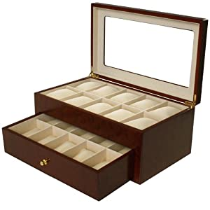 Watch Box for 20 Watches Cherry Matte Finish XL Extra Large Compartments Soft Cushions Clearance Window