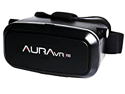 AuraVR Pro VR headset / Virtual Reality Gear with Free Bluetooth Remote for smart phones inspired by Google Cardboard, Oculus Rift and Samsung Gear - VR Glasses works with leading android, iOS based smartphone brands like Motorola, Samsung, Xiaomi, ZTE, HTC, Nexus, iphone, Micromax.