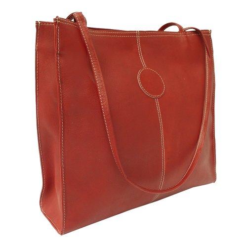 Piel Leather Medium Market Bag, Red, One Size