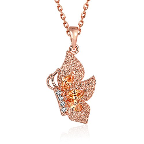 [Womens Rose Gold Plated Necklace Charm Butterfly Chain Pendant Necklace] (Homemade Cactus Costume Ideas)