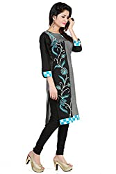 Feather Touch Women's Cotton Kurti (FT3280GY3_Grey_44)