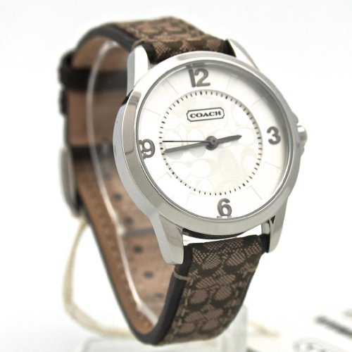 Coach women watch classic khaki logo leather strap 38mm 14601507