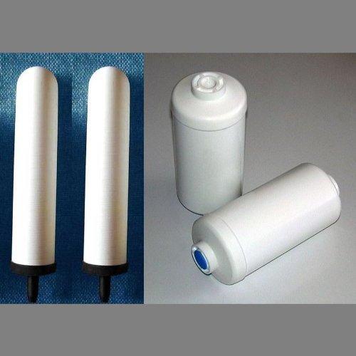 "2 Big Berkey - British Berkefeld 9"" Ceramic Replacement Filters & 2 Pf-4 Fluoride Filters"
