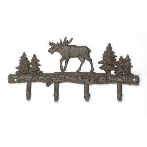 Cast Iron Moose Wall Key Rack Holder 4 Hooks Coat Hook
