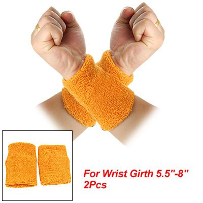 Pair Orange Terry Stretchy Band Sporting Wrist Support front-904453