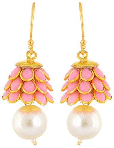 Rajasthani-Traditions-Gold-Toned-Baby-Pink-Stone-Embellished-Pearl-Drop-Earrings