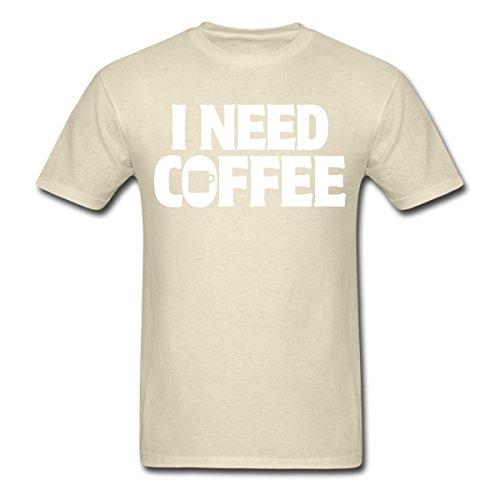 Spreadshirt Men'S I Need Coffee Funny Cute Java... T-Shirt, Khaki, M