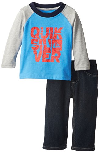 Quiksilver Baby-Boys Infant Blue Gray Long Sleeve Tee And Jeans, Blue, 18 Months front-524505