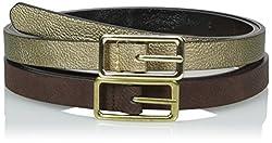 Steve Madden Women's Two For One Reversible Belt Set, Brown/Cognac/Gold/Black, Medium