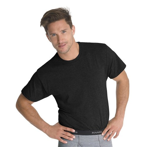Hanes Men's Classics 3 Pack Black Crew Neck Tee