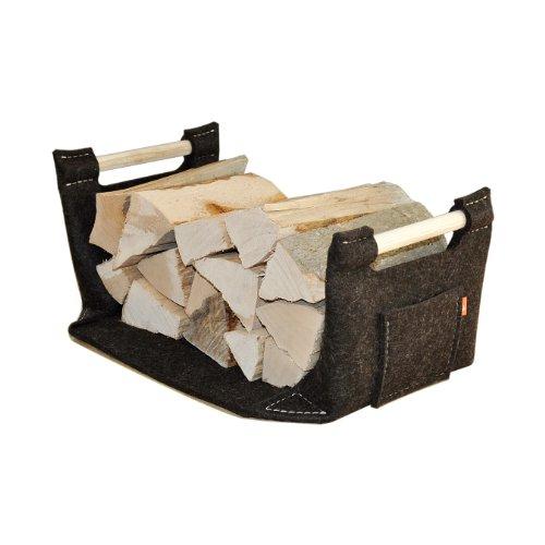 Feuerholzkorb, Kaminholzkorb, Kaminkorb aus Filz von ebos, dunkelbraun